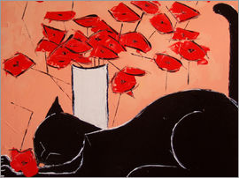 JIEL - Black cat with poppies