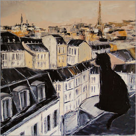 JIEL - Black cat on the roofs of Paris