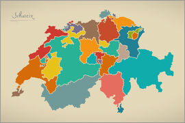 Ingo Menhard - Switzerland Modern Map Artwork Design