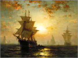 Edward Moran - Sailboats at sunset