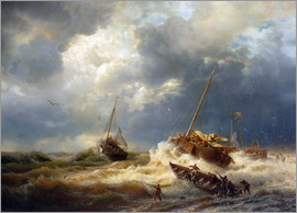 Andreas Achenbach - Ships in a Storm on the Dutch Coast, 1854