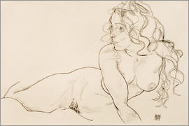 Egon Schiele - Resting himself Female act with long hair