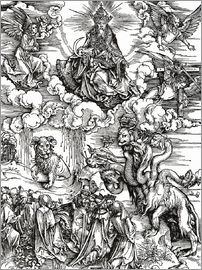 Albrecht Dürer - Seven-headed beast from the sea and the beast with horns lamb