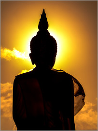 Silhouette of Buddha in the temple