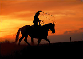 Joe Restuccia III - Silhouette of a cowboy with horse at sunset