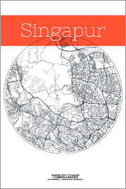 campus graphics - Singapore map city black and white