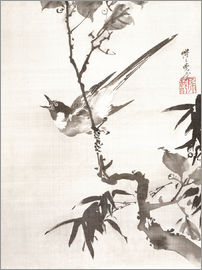 Kawanabe Kyosai - Singing Bird on a Branch