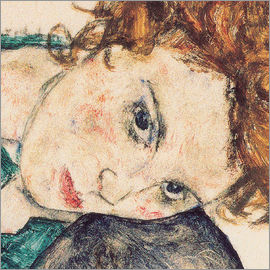Egon Schiele - Seated woman with bent knee, detail