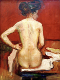 Edvard Munch - Back View of Sitting Female Nude with Red Background