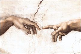 Michelangelo - Sistin. Chapel: Creation of Adam, detail of hands