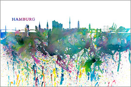 M. Bleichner - Skyline HAMBURG Colorful Silhouette Splash