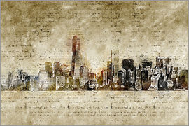 Michael artefacti - Skyline of New York in modern abstract vintage look