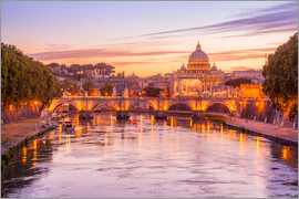 Skyline of Rome in a magenta dawn