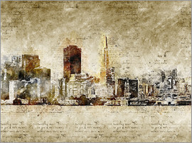 Michael artefacti - Skyline of San Francisco in modern abstract vintage look