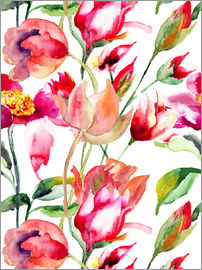 Summer flowers in watercolor