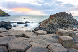 Sunset at Giant's Causeway in North Antrim, Northern Ireland