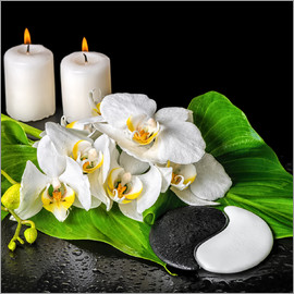 Spa concept with candles and orchids