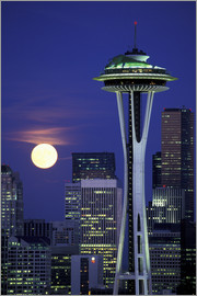 William Sutton - Space Needle at full moon