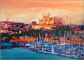M. Bleichner - Spain Balearic Island Palma de Mallorca with Harbour and Cathedral