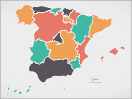 Ingo Menhard - Spain map modern abstract with round shapes