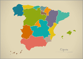 Ingo Menhard - Modern Map of Spain Artwork Design