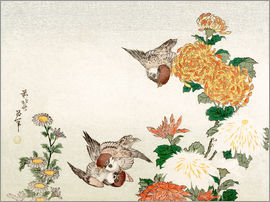 Katsushika Hokusai - Sparrows and Chrysanthemums