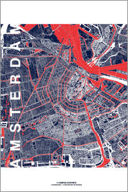 campus graphics - City of Amsterdam Map midnight