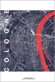 campus graphics - City of Cologne Map midnight