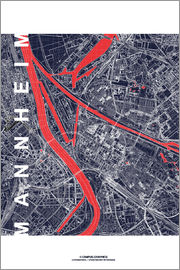 campus graphics - City of Mannheim Map midnight