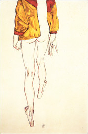 Egon Schiele - Standing halfthose with brown shirt
