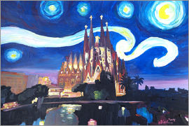 M. Bleichner - Starry Night in Barcelona   Van Gogh Inspirations with Sagrada Familia