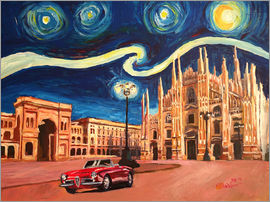 M. Bleichner - Starry Night in Milan Italy Oldtimer and Cathedral