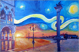 M. Bleichner - Starry Night in Venice Italy San Marco with Lion