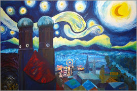 M. Bleichner - Starry Night over Munich inspired by Vincent Van Gogh