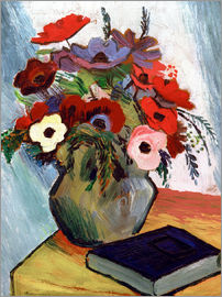 August Macke - Still life with Anemones and Blue Book