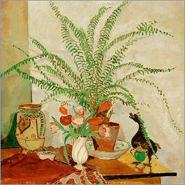 Oskar Moll - Still life with leaf plant