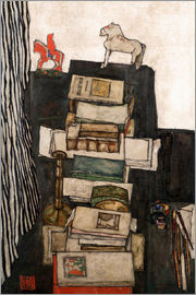 Egon Schiele - Still life with books