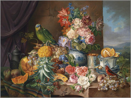 Joseph Schuster - Still life with fruits flowers and parrot