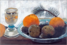 Paula Modersohn-Becker - Still Life with frosted glass mug, apples and pine branch
