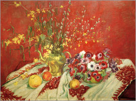 Maria Slavona - Still life against a red background