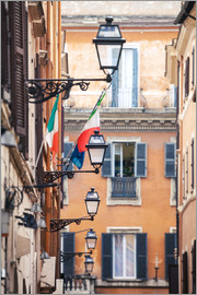 Matteo Colombo - Street in the centre of old town with italian flags, Rome, Italy
