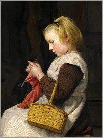 Albert Anker - Knitting Girl with basket