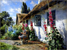 Peder Mork Mönsted - Knitting girl in front of a hollyhock