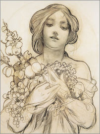 Alfons Mucha - Study of Woman with Flowers