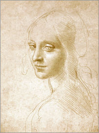 Leonardo da Vinci - Study of an angel face of the Virgin of the Rocks