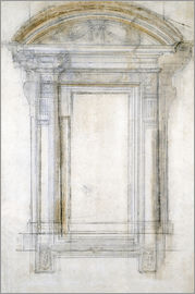 Michelangelo - Study of a Window with a semi-circular gabl