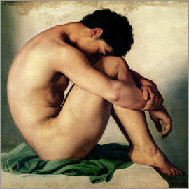 Hippolyte Flandrin - Study of a Nude Young Man