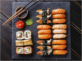 TPP - Sushi Set on black stone slate background