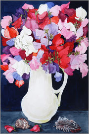 Joan Thewsey - Sweet Peas in a White Jug with Shell and Feather 2011 )