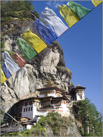 Lee Frost - Taktshang Goemba (Tiger's Nest Monastery) and prayer flags, Paro Valley, Bhutan, Asia
